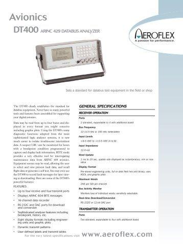 DT400 ARINC 429 DATABUS ANALYZER Data Sheet - Aeroflex