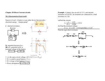 Chapter 28 Direct Current circuits 28.1 Electromotive Force (emf ...