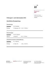 Prüfungen 4. Jahr Zahnmedizin 2012 Schriftliche Einzelprüfung