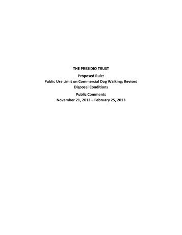 View the full record of comments - Presidio Trust