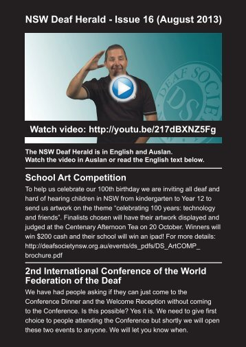 NSW Deaf Herald - Issue 16 (August 2013) - The Deaf Society of NSW