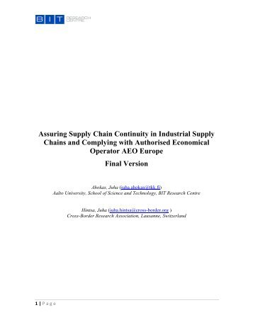 Assuring Supply Chain Continuity in Industrial Supply Chains and ...