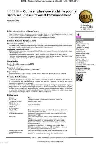 HSE116 - Outils en physique et chimie pour la santé ... - Cnam