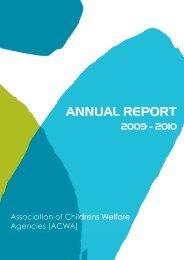 2009/2010 ACWA Annual Report - Association of Children's Welfare ...