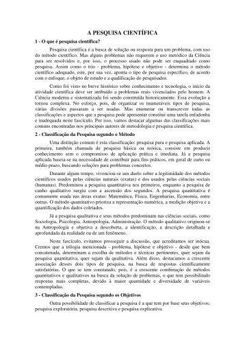 A PESQUISA CIENTÍFICA - Waltenomartins.com.br