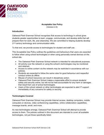Acceptable Use Policy - Oakwood Park Grammar School