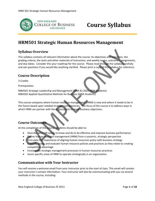 View syllabus ( pdf) - New England College of Business and