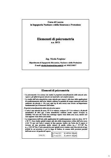 Elementi di psicrometria - Ingegneria Meccanica, Nucleare e della ...