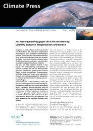 Mit Geoengineering gegen die Klimaerwärmung - OcCC - SCNAT