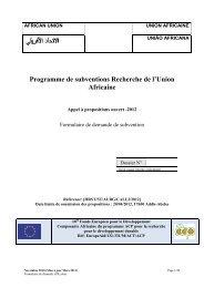 Programme de subventions Recherche de l'Union Africaine