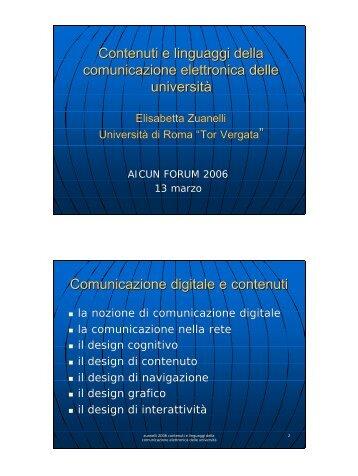 Contenuti e linguaggi della comunicazione elettronica ... - Icomit.it