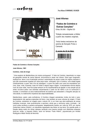 """José Afonso """"Fados de Coimbra e Outras Canções"""""""