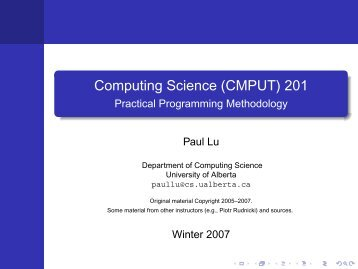 (CMPUT) 201 - Department of Computing Science - University of ...