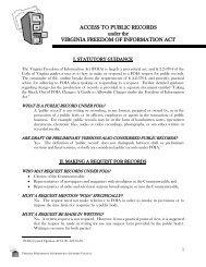 Access to Public Records - Virginia Freedom of Information Advisory ...