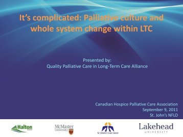 Palliative culture and whole system change within LTC - Quality ...