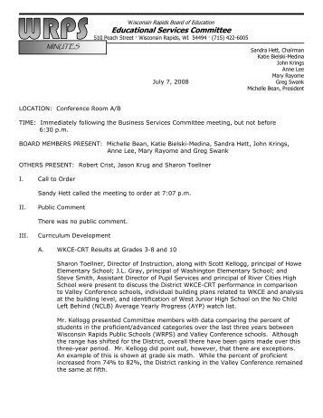 Minutes 7-7-08 - Wisconsin Rapids Public Schools