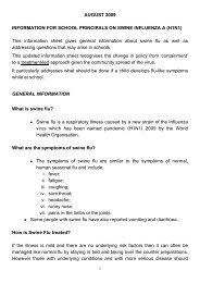 Information for school principals on swine influenza A (H1N1)