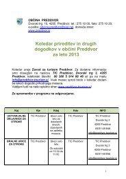 Koledar prireditev in drugih dogodkov v občini Preddvor za leto 2013