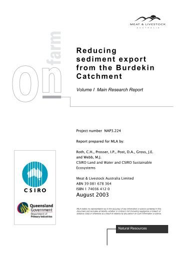 Reducing sediment export from the Burdekin Catchment. Volume I ...