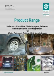 Detergent raw materials / surfactants delivery programme