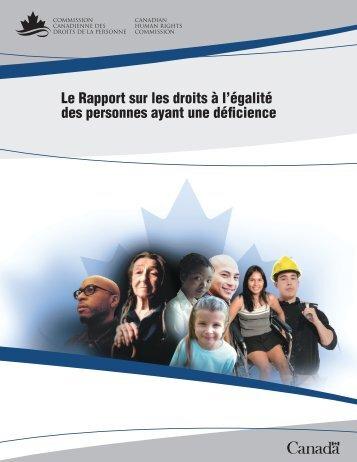 Le rapport sur les droits à l'égalité des personnes ayant une déficience