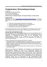 Projektstudium: Wirtschaftspsychologie - Universität Wien