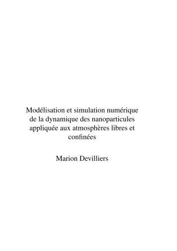 Modélisation et simulation numérique de la dynamique des ... - Cerea