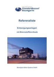 Referenzliste Entsorgungsanlagen mit Brennstoffdurchsatz