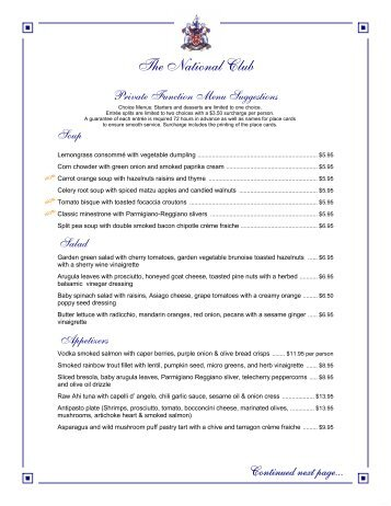 MenuPro a la carte menus - The National Club
