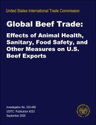 Global Beef Trade: Effects of Animal Health, Sanitary, Food ... - USITC