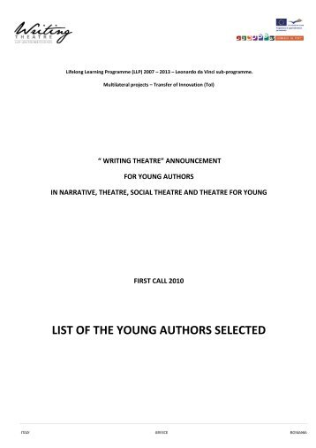 list of the young authors selected - WRITING THEATRE at school