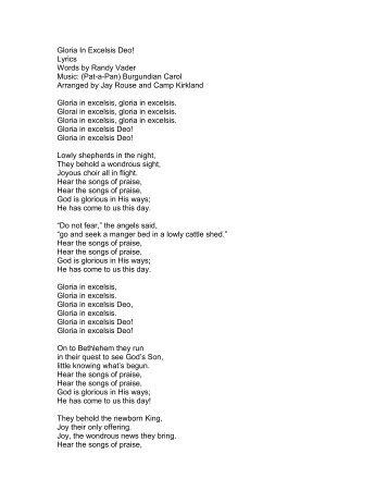 Gloria In Excelsis Deo! Lyrics Words by Randy ... - PraiseGathering