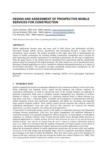 design and assessment of prospective mobile services for construction