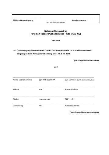 Netzanschlussvertrag für einen Niederdruckanschluss - Gas (NAV ...