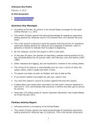 Summary Key Messages FluView Activity Report