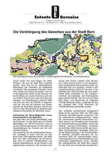 Die Verdrängung des Gewerbes aus der Stadt Bern - Entente bernoise