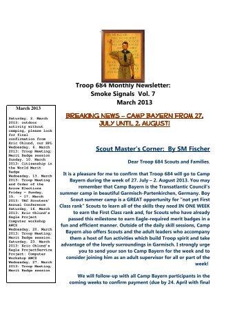 Newsletter vol. 7 - Troop 684 – Zurich, Switzerland