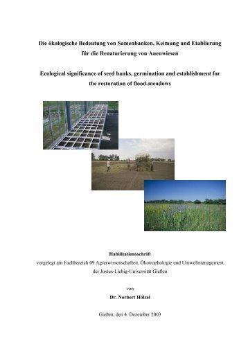 Die ökologische Bedeutung von Samenbanken, Keimung und ...