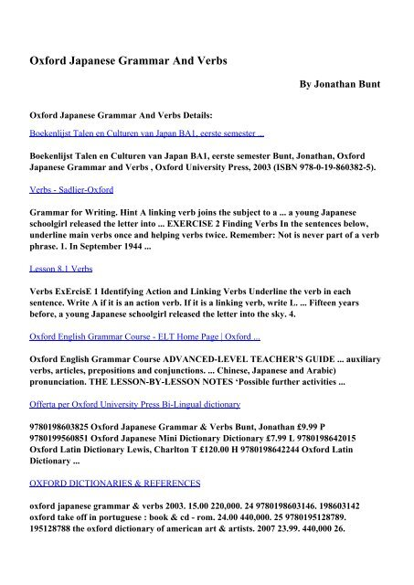 Download Oxford Japanese Grammar And Verbs pdf ebooks by