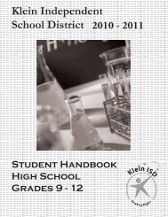 dear parent and student - Klein Independent School District