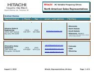 North American Sales Representatives - Hitachi America, Ltd.