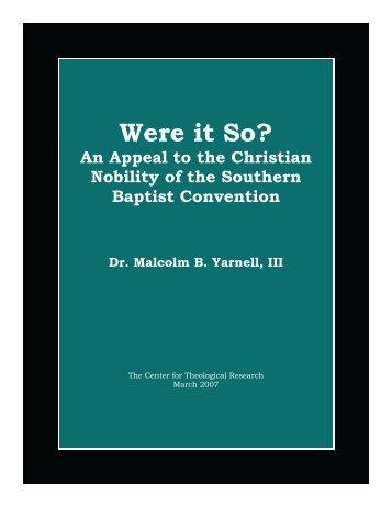 Were it So? - Baptist Theology