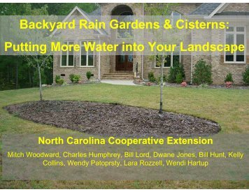 Backyard Rain Gardens & Cisterns - National Water Program