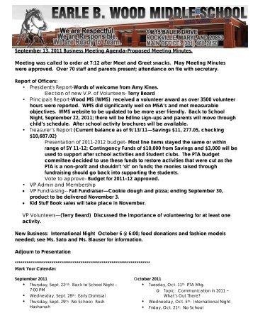 September 2011 - Earle B. Wood Middle School PTA