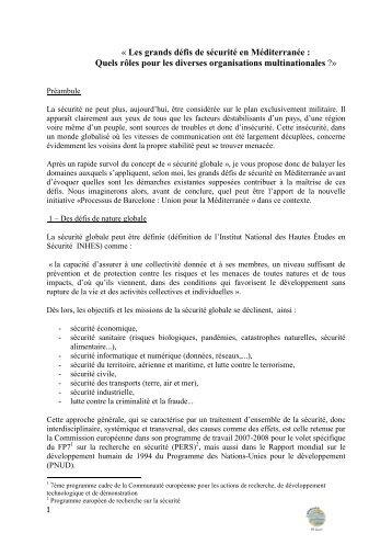 Les grands défis de sécurité en Méditerranée - JFC Conseil