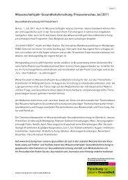 Wissenschaftsjahr Gesundheitsforschung: Pressevorschau Juli 2011