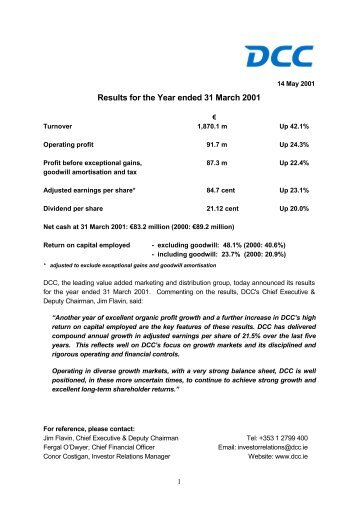 Results for the Year ended 31 March 2001 - DCC plc