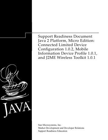 Support Readiness Document Java 2 Platform, Micro Edition ...