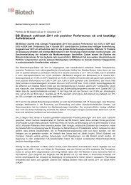 BB Biotech schliesst 2011 mit positiver Performance ab und ...