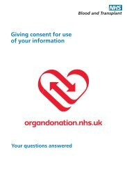 Giving consent for use of your information - Organ Donation